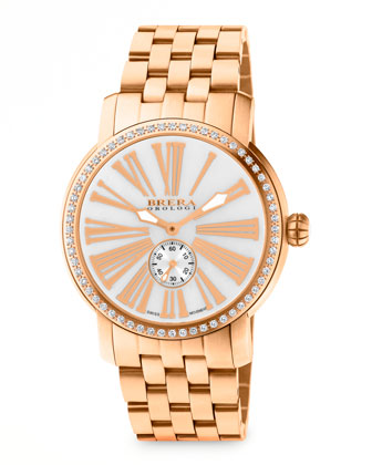 42mm Valentina III Diamond Rose Golden Watch Head & 22mm Valentina II ...