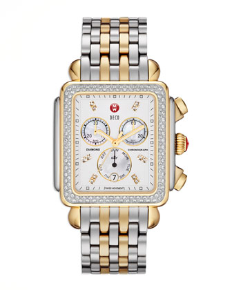 Deco XL Diamond Two-Tone Watch Head & Alligator Strap
