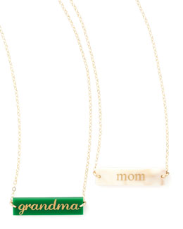 Moon and Lola Enamel Bar Pendant Necklace