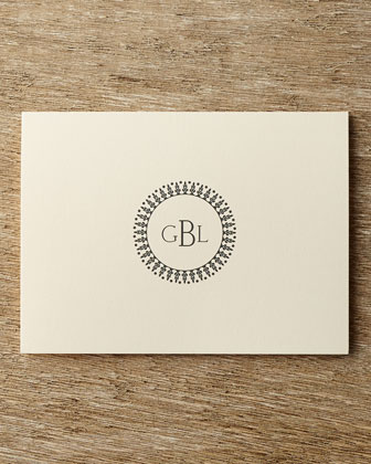 Carlson Craft Circle Monogram Folded Notes with Personalized Envelopes