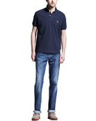 Navy Pique Logo Polo & Lightweight Medium Wash Jeans