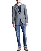 Deconstructed Travel Jacket, Button-Down Slim-Spread Collar Shirt, Fine-Gauge V-Neck Sweater & Lightweight Medium Wash Jeans