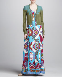 Nanette Lepore Lima V-Neck Cardigan & Machu Picchu Printed Maxi Dress