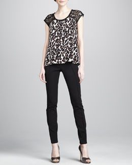 Nanette Lepore Capazo Animal-Print Top & Cayma Slim Scuba Pants
