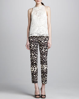 Nanette Lepore Inca Sleeveless Lace Top & Cropped Leopard-Print Pants