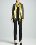 Multi-Tonal Flutter Cardigan, Slim Tank, Hazy Linen Weave Scarf & Straight-Leg Jeans