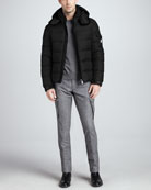 Himalaya Quilted Down Jacket, Logo Heather Sweater & Tweed Cargo Pants