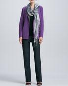 Contrast-Facing Felted Merino Jacket, Slim Tank, Boot-Cut Pants & Hazy Linen Weave Scarf, Women's