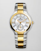 Small Two-Tone Mother-of-Pearl Diamond Watch Head & Two-Tone Gold Plated Bracelet