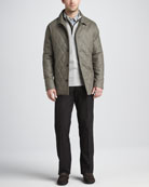Brescia Quilted Coat, Hidden-Quarter-Zip Knit Sweater, Plaid Sport Shirt & Cotton Dress Pants