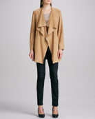 Draped Suede Jacket, Printed Short-Sleeve Top, Soft Stretch Skinny Jeans & Studded Leather Belt