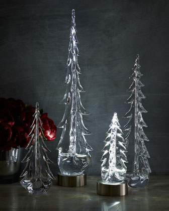 Evergreen Glass Trees & Rechargeable LED Base