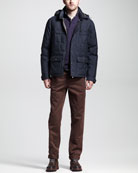 Hooded Silk Down Jacket, Twill Six-Pocket Pants, Multi-Check Long-Sleeve Shirt