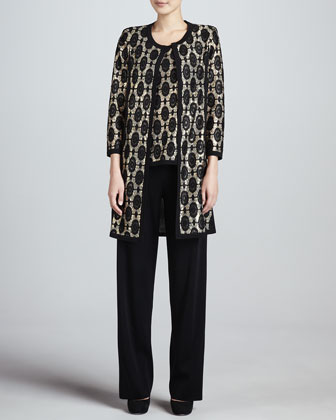 Brocade Jacquard Long Jacket, Tank & Boot-Cut Pants, Women's