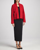 Boiled Wool Kimono Jacket, Silk Jersey Camisole & Ankle-Length Wool Pencil Skirt, Women's