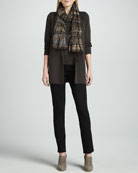 Washable-Wool Long Jacket, Silk-Jersey Cap-Sleeve Tee, Striped Puckered Scarf & Straight-Leg Ponte Pants