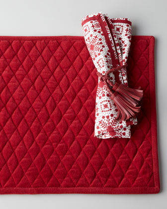Quilted Placemat, Snowflake Napkin, & Tassel Napkin Ring