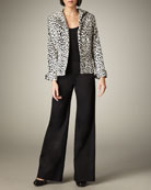 Leopard-Print Velvet Jacket & Wide-Leg Trousers