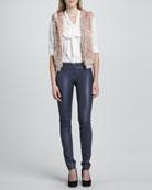 Jael Hooded Fur Vest, Arie Tie-Neck Blouse & Leather Zip-Front Leggings