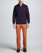 Merino 1/4-Zip Pullover Sweater, Soho Check Long-Sleeve Shirt & Raleigh Washed Twill Pants
