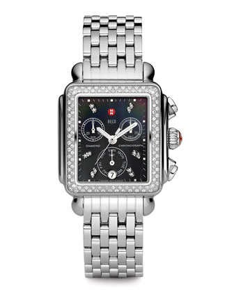Deco Diamond Watch Head & 18mm Stainless Steel Bracelet