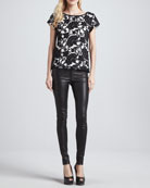 Connie Contrast-Lace Tee & Leather Leggings