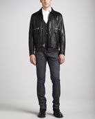 Leather Bomber Jacket, Striped Cardigan, Stretch Poplin Shirt & Tyler Selvedge Jeans