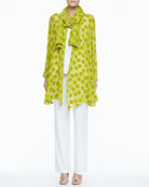 Dot Burnout Long Jacket, Stretch-Knit Long Tank, Stretch-Knit Slim Pants & Dot Crinkle Scarf, Women's