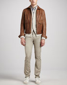 Patch-Pocket Leather Bomber Jacket, Ribbed Cotton Cardigan, Plaid French-Placket Shirt & Tyler Slim Straight Jeans