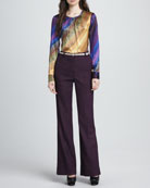 Phoenix Printed Ombre Blouse & Approach Wide-Leg Tweed Pants