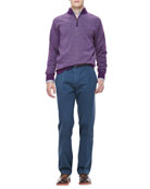 Cashmere One-Quarter Zip Pullover, Bengal Stripe Sport Shirt & Washed Twill Pants
