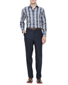 Loro Piana Italian Wool Pants & Herringbone Plaid Shirt