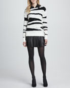 Sparrow Boat-Neck Sweater, Cathi Leather/Combo Top & Box-Pleated Leather Skirt