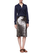 Satin Popover Blouse and Striped Sequined Pencil Skirt