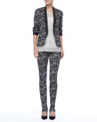 Fitted Delicate Lace Jacket, Jewel-Neckline Sequin Top &  Lace Skinny Pants