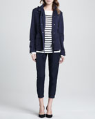 Striped Intarsia Sweater,  Luxe Hooded Short Anorak & Straight-Leg Cuffed Trousers