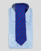 Small-Plaid Barrel-Cuff Dress Shirt & Multi-Striped Silk Tie