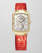 Small Classic Gold-Plated Watch Head & Alligator-Print Strap