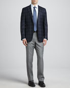 Plaid Two-Button Sport Coat, Basic Dress Shirt, Heathered Wool Trousers & Basket-Weave-Neat Silk Tie,