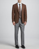 Plaid Wool/Cashmere Sport Coat, Basic Dress Shirt, Heathered Wool Trousers & Basket-Weave-Neat Silk Tie