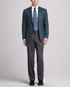 Cashmere Herringbone Jacket, Basketweave-Neat Silk Tie, Twill Dress Shirt & Heathered Wool Trousers