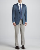 Herringbone Cashmere/Silk Sport Coat, Twill Dress Shirt, Cotton/Cashmere Dress Pants & Basket-Weave-Neat Silk Tie