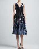 Tulip Print Satin Faced Organza Cocktail Dress with Pleated Wrap Front & Leather Wide Tie Belt