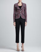 Sequined Pocket-Flap Jacket, Sleeveless Pleated-Neck Shell & Emma Cropped Pants with Pockets