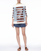 Sequined-Stripe Bateau Tunic and Cuffed Grid-Print Shorts