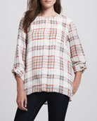 Kariana Long-Sleeve Plaid Blouse & Coraline Slub-Knit Camisole