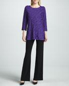 Bias-Ruffled Knit Tunic & Knit Straight-Leg Pants, Women's