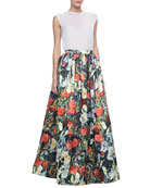 Sleeveless Slub Tee & Tina Floral Ball Gown Skirt