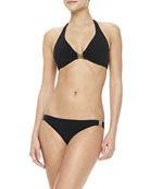 Logo-Center Halter Top & Swim Bottom, Black