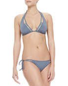 Stone-Trim Halter Swim Top & Tie Bottom